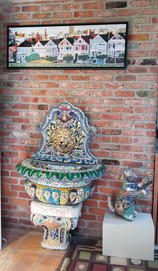 "Painted Ladies - 48"" x 16"" (Giclee print on canvas) Lion Head water fountain Tika the Cat"