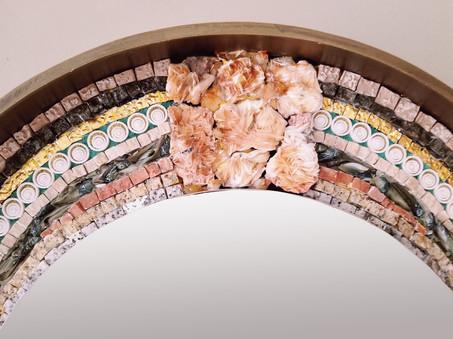 Materials: Bladed barite, citrine,  24k gold leaf glass, alumninum ceramic, marble stones, ceramic tiles, glass microbeads, tiger eyes mineral.