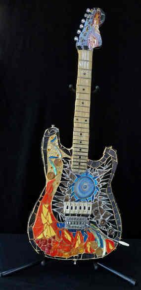 """Music on Fire"" electric guitar  - $3,250.00sculpture"
