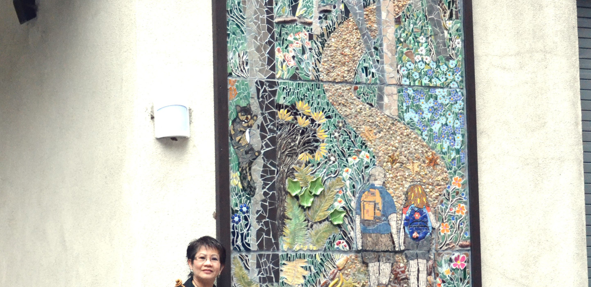 The completed mural and I - the leading artist