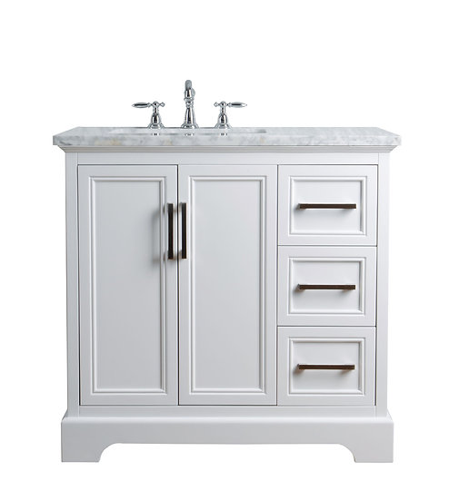 "Ariane 36"" White Single Vanity Single Sink"