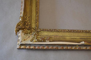 before and after photos of restoration and conservation of gilded picture frames, gilded furniture and gilded objects