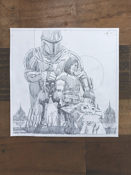 Mandalorian Pencil Sketch - Episode #4 (Variant 2)