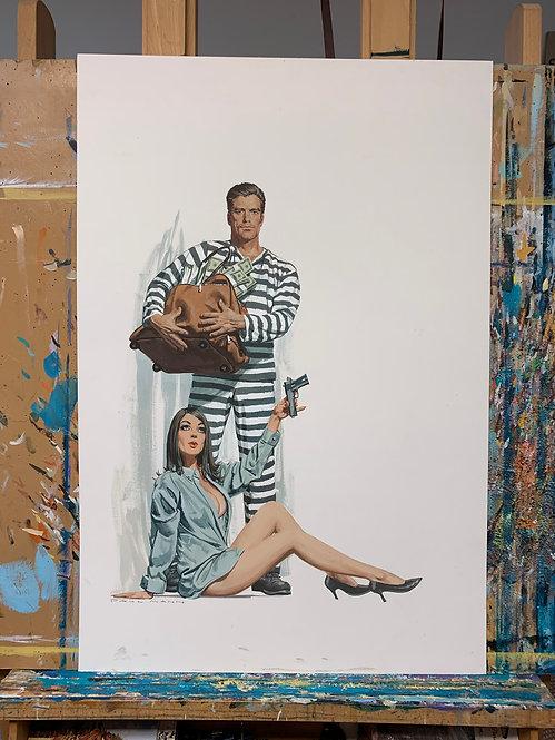 Help I'm Being Held Prisoner - Original Final Hand Painted Illustration