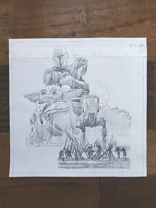 Mandalorian Pencil Sketch - Episode #4