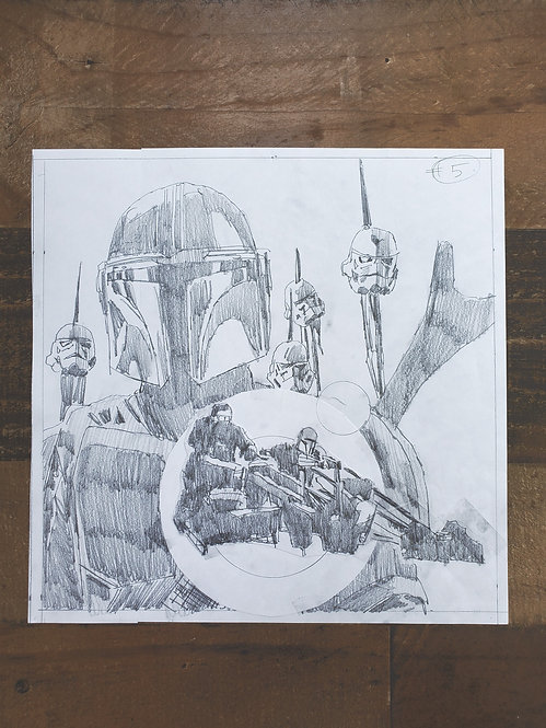 Mandalorian Pencil Sketch - Episode #5 (Variant 1)