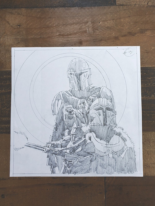 Mandalorian Pencil Sketch - Episode #3 (Variant 2)