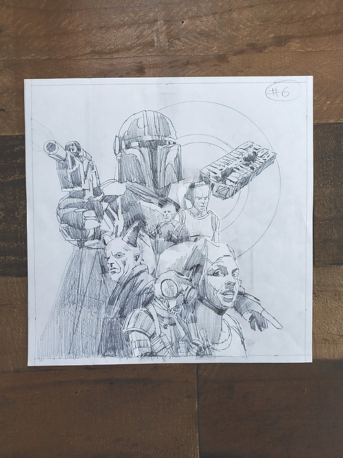 Mandalorian Pencil Sketch - Episode #6