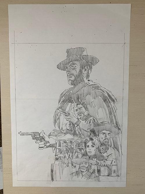 A Fist Full of Dollars Pencil Sketch