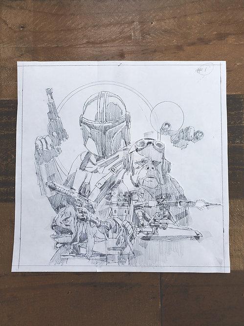 Mandalorian Pencil Sketch - Episode #1