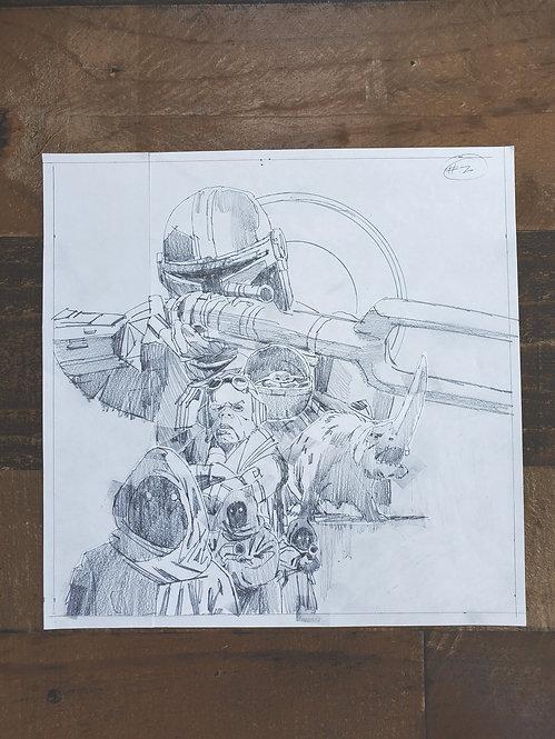 Mandalorian Pencil Sketch - Episode #2