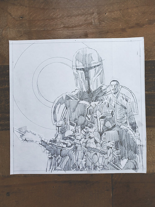 Mandalorian Pencil Sketch - Episode #3 (Variant 1)