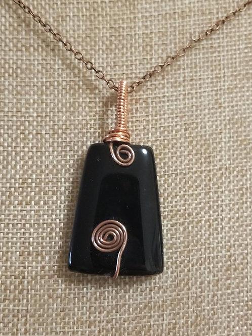 Black Onyx Pendant with Copper