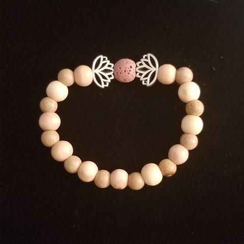 Lave Stone, Wood and Jasper Lotus Bracelet
