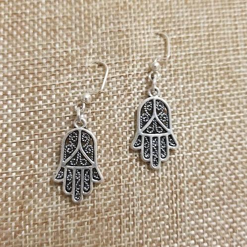 Silver Colored Hamsa Earrings
