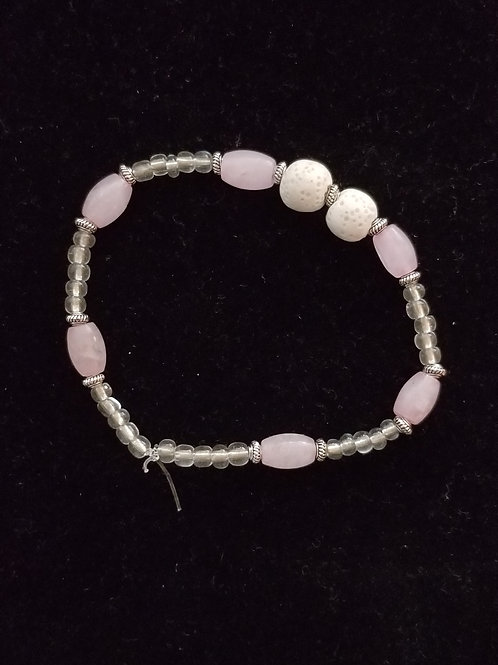 Rose Quartz and Lava Stone Bracelet