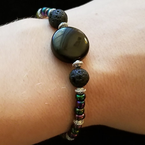Lava Stone and Black Onyx Bracelet