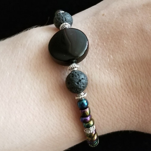Black Onyx and Lava Stone Bracelet