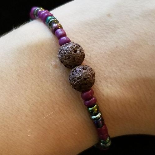 Lava Stone and Hematite Bracelet