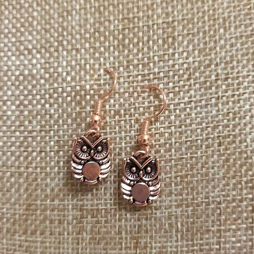 Copper Owl Earrings