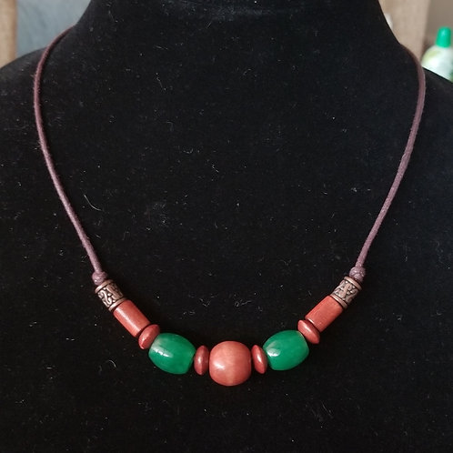 Jade and Wood Necklace