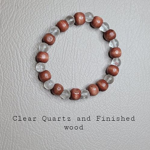 Quartz and Polished Wood Bracelet