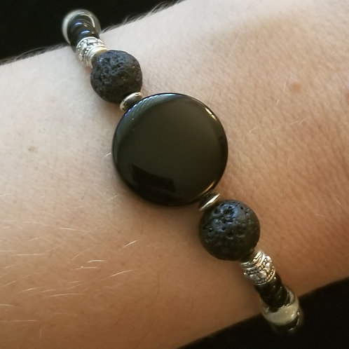 Black Onyx and Lava Stone Bracelet