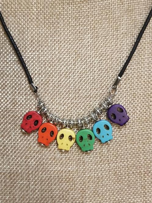 Rainbow Sugar Skull Necklace