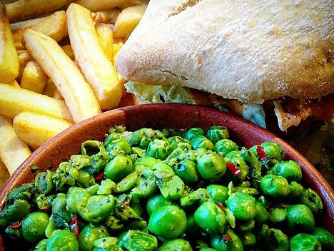 Beanie Burger, Fries and Macho Peas