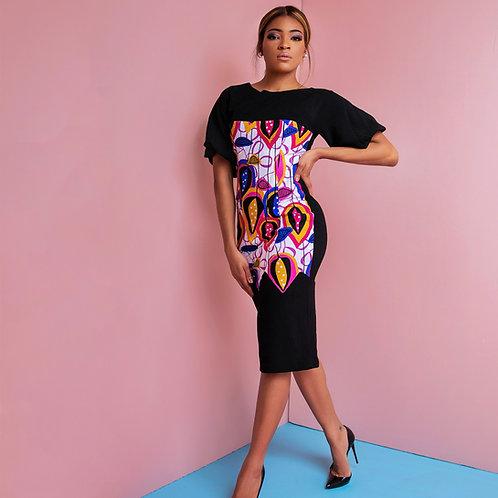 Black And Purple Print Mix Dress