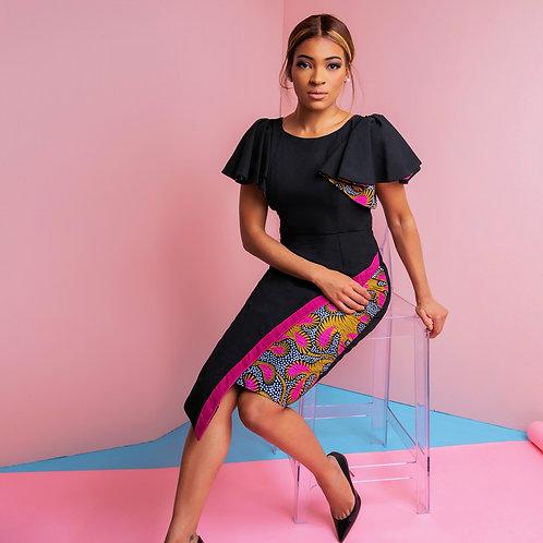 Black and Print Asymmetry Dress