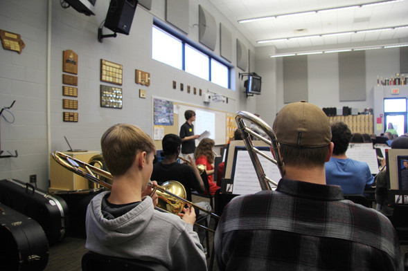 Tray rehearses Gamma Decay students at Linn-Mar High School