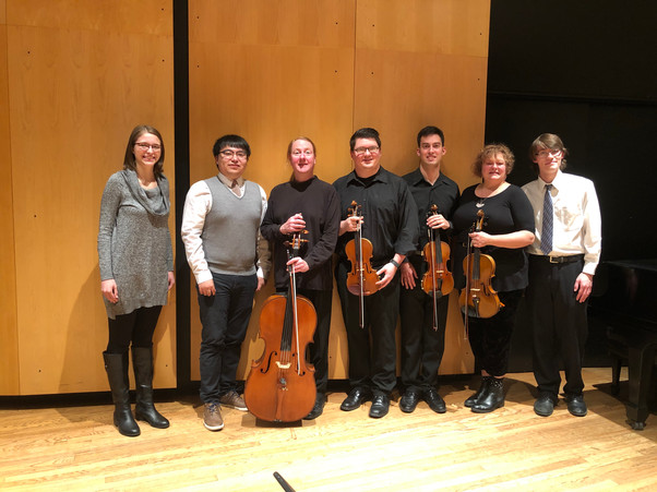 Tray with the string quartet after his senior recital. The Picture of Dorian Gray and Mixim were both premiered.