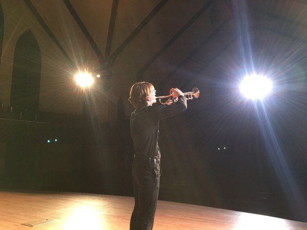 Tray during a midnight rehearsal of his Concerto for Trumpet.
