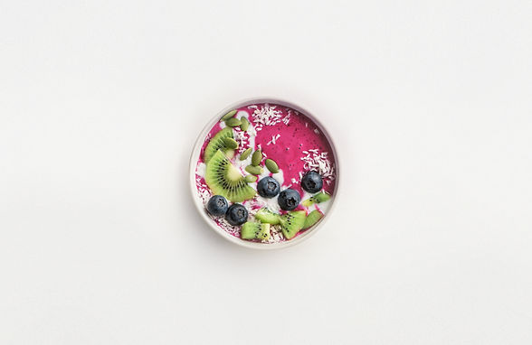 Birdseye view of an acai bowl