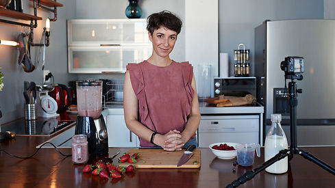 Female nutritionist posed in a kitchen