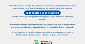 Poder executivo de Maripá suspende publicidade durante o período eleitoral