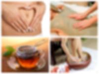 4 foto's van een ontgiftend voetbad, algenpakking op de rug, detox kruidenthee, vrouw die haar buik vasthoudt