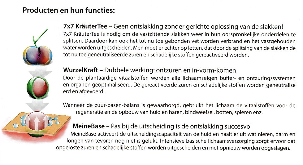 Detox producten van de BasenKuur ontwikkeld door P.  Jentschura en hun functies