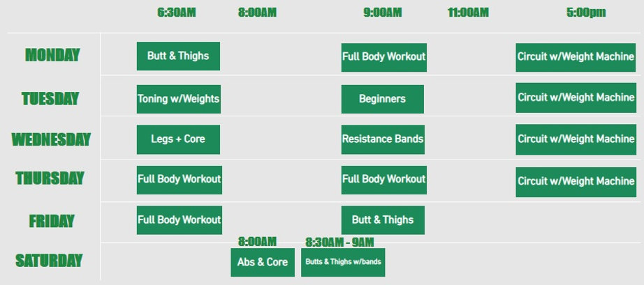 timetable mobile version FREO FITNESS.jp