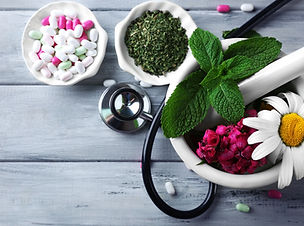 Alternative medicine herbs and stethosco