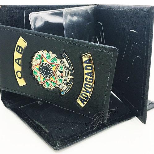 Carteira Grande Advogada OAB porta notas cartões COURO