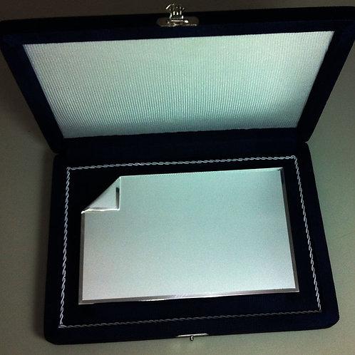 Placa de Prata 10cm x 16 cm com estojo em tecido