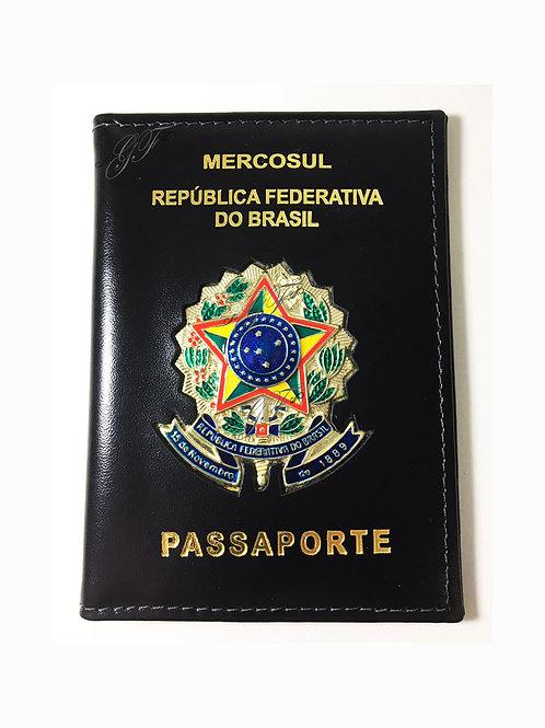 Porta Passaporte BRASÃO EM METAL couro