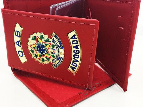 Carteira Grande Advogada OAB porta notas cheque cartões COURO