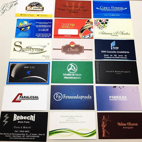 Cartões de Visita com verniz fosco e brilhante local 180g  1.000 unidades