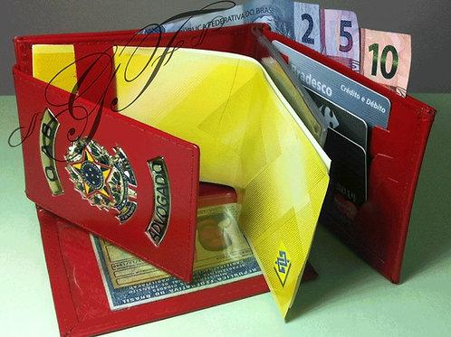 Carteira Grande Advogado OAB porta notas cartões COURO