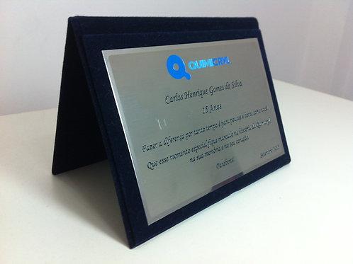 Placa de Aço Inox 10cmx16cm com porta placa