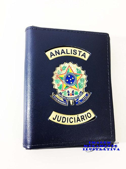 Carteira ANALISTA JUDICIÁRIO Porta Cheque Funcional Couro AZUL
