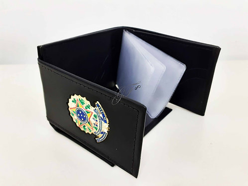 Carteira mini porta notas e cartões COURO brasão na divisória interna